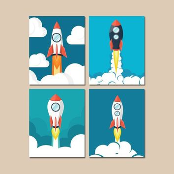 Rocket Wall Art, Rocket Decor, Outer Space Wall Art, Space CANVAS or Prints Space Ship Pictures, Space Theme, Big Boy Room Artwork Set of 4