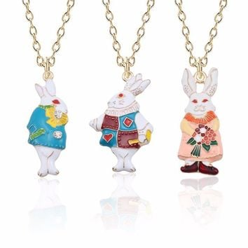 Cute Rabbit Necklace For Women Kawaii Bunny Pendant For Girls Alice in Wonderland  Colorful Red Eyes Rabbits Necklaces&Pendants