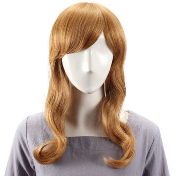 Human Hair Wig Long Wave Full Bang Virgin Remy Mono Top Capless 7 Colors