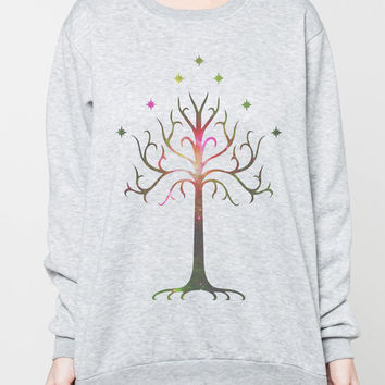 Tree of Gondor Jumper The Lord of the Rings Tshirt Long Sleeve Sweatshirts Women Grey Unisex Sweater Shirt T-Shirt Size S M L