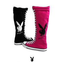 -Playboy Bunny Knee High Canvas Sneakers Lace Up Boots Fuchsia-Shoes-Womens-View All