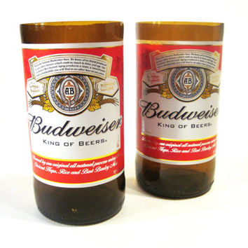 Set of Tumblers / Drinking Glasses / Tealight Candle holders made from recycled Budweiser beer bottles