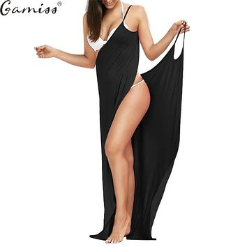 Gamiss Beach Long Maxi Wrap Slip Dress  Women Summer Cover Ups Sleeveless Split Sexy Spaghetti Strap Dress Vestidos Sundress