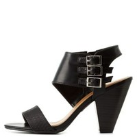 Black City Classified Triple-Belted Cone Heels by Charlotte Russe