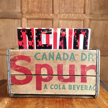 Vintage Wood Crate, Canada Dry Spur Cola Wooden Crate, Vinyl Record Storage