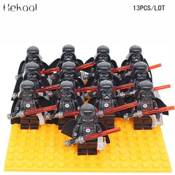 Star Wars Force Episode 1 2 3 4 5 13pcs/lot  Darth Vader The Last Jedi Dark Lord Of The Sith Models Compatible legoe with Lightsaber building block AT_72_6