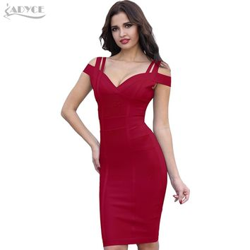 ADYCE Bandage Dress Women Vestidos Verano 2018 Sexy V Neck Off Shoulder Celebrity Party Dress Sexy Club Bodycon Dresses Vestidos