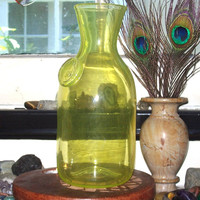 Blown Glass Carafe, Bright Daisy Yellow Art Glass, by Taylor Kelly
