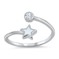 Sterling Silver Star With Cubic Zirconia Toe Ring