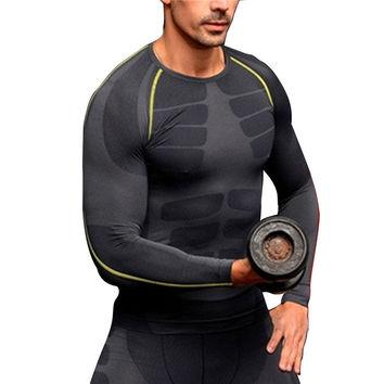 Men Compression Long Sleeve O-Neck Sports Tight T Shirts Fast Drying Fitness GYM Base Layer Tops
