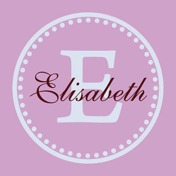 Name and Initial Vinyl Wall Decal Border Personalized Monogram Wall Decal Girl Baby Nursery Room Wall Art 23Hx23W - 006