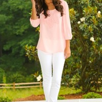 Season In The Sun Blouse-Pale Pink
