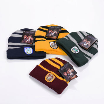 2016 New Harry Potter Men Ski Winter Warm Knitted Skullies Beanies Gryffindor Scarf Slytherin Warm Hats Cap For Children