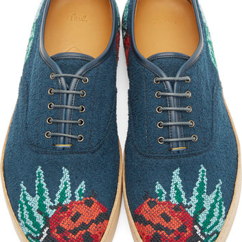 Blue Lady Bug Cross Stitch Shoes