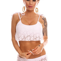 White Lace Design Two Piece Swimsuit