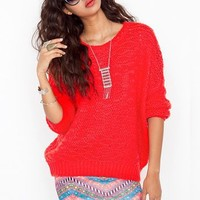 Oversized Wave Knit - Red in  Clothes at Nasty Gal