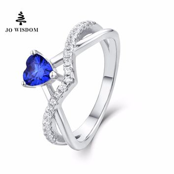 JO WISDOM Birthstone Sapphire Trendy 100% 925 Sterling Silver Women Wedding Ring with Natural Topaz Stone