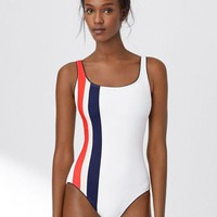 Double Striped One Piece Swimsuits for all