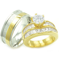 Annabelle's Collection II His & Hers Matching Stainless Steel CZ Wedding Rings Set