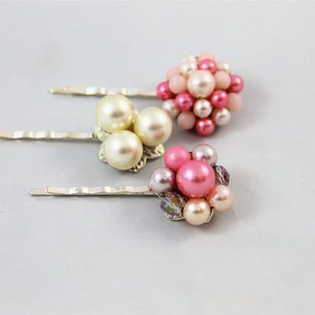 Vintage earring hairpins ivory pink clusters silver wedding bride bridesmaid pearl glass crystal retro re-purposed 50's 60's Great Gatsby
