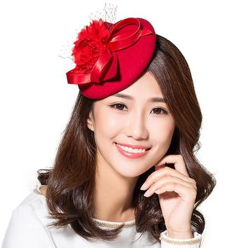 Ladies Red & Black  Wool Party Net Yarn Fascinator