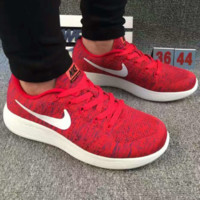 """NIKE"" net surface breathable sneaker running casual shoes Red"
