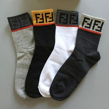 """FENDI"" Trending Unisex Stylish F Letter Cotton Sport Socks - Boxed"