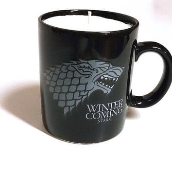 Game of Thrones Candle - Winter is Coming Stark Sigil - 11 oz Coffee Mug - CHOICE OF SCENT