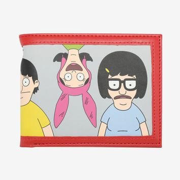 Licensed cool Bobs Burgers Belcher Family LIne-Up Bi-fold Bifold Mens Wallet Faux Leather NWT