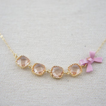 peach pink gem and pink bow necklace with 18K gold vermeil over sterling silver chain, wedding, gift, birthday, valentine's day