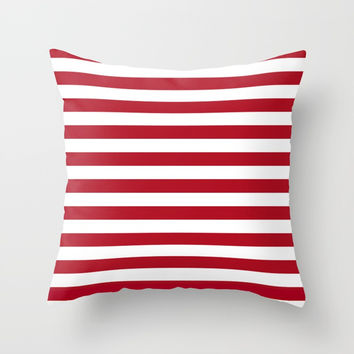 Horizontal Stripes in Red and White Throw Pillow by Leah McPhail