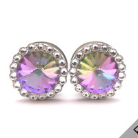 Vitrail Multi Color Swarovski Crystal Plugs / 4g, 2g, 0g, 00g, 1/2, 9/16, 5/8, 11/16, & 3/4 inch / Sparkle Gauges / Wedding Plugs for Bride