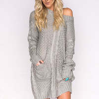 Extremely Slouchy Sweater Dress In Gray