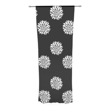 "Suzanne Carter ""Peony Rose"" Black White Decorative Sheer Curtain"