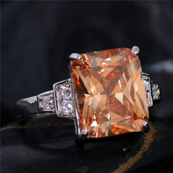 SHUANGR Square Orange Crystal Rings 925 starling silver Fashion Brand Yellow Cubic Zirconia Jewelry Halo Engagement Rings Bijoux