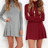 Fashion Bodycon High Collar Long Sleeve Mini Dress