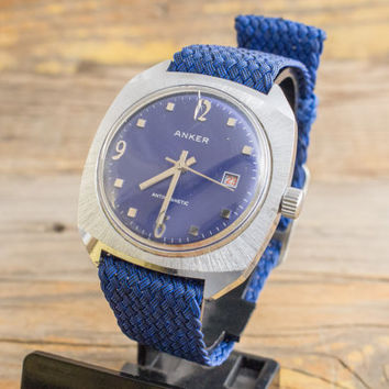 Vintage Anker mens watch with blue dial