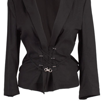 Y's Blazer Jacket with Lace Detailing and Tie Front in Black