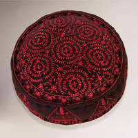 Black Round Embroidered Floor Cushion