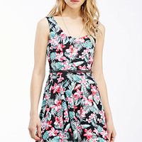 Tropical Print Fit & Flare Dress