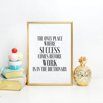 PRINTABLE ART Typographic Print Inspirational Quote, Office Decor, Motivational Art, Typography Poster, Success Quote, Modern Wall Art