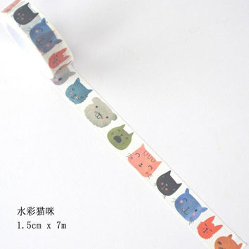 JI121 1.5cm Wide Watercolor Funny Cat Head Decorative Washi Tape DIY Scrapbooking Masking Tape School Office Supply
