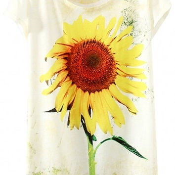 Sunflower Print Graphic Tee