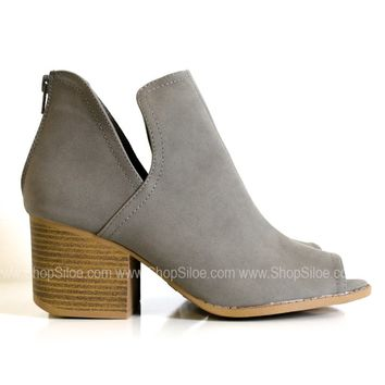 City Grey Peep Toe Booties