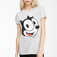 Gray Felix the Cat Print T-Shirt