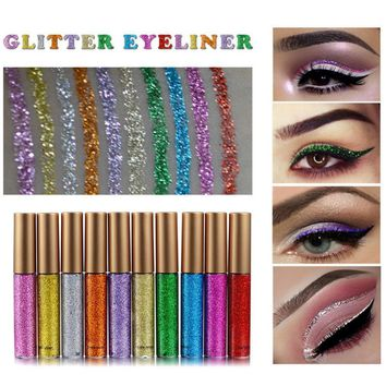 HANDAIYAN Glitter Eyes Make Up Liner For Women Easy to Wear Waterproof Pigmented Red White Gold Liquid Eyeliner Glitter Makeup