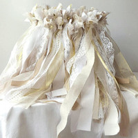 Wedding wands, 150 triple streamer party favors with bell option, custom made shabby cottage party decor