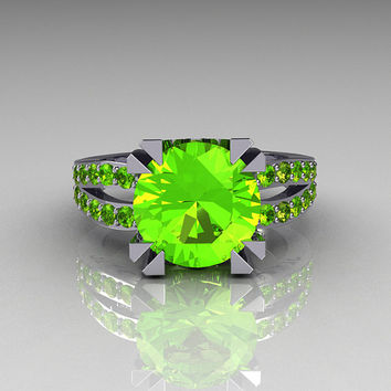 Modern Vintage 10K White Gold 3.0 Carat Green Peridot Solitaire Ring R102-10KWGGPP