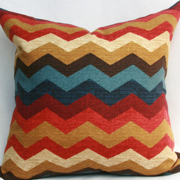 "Multicolor chevron pillow cover. Waverly panama wave gem decorative throw pillow cover. 18"" x 18"" pillow."
