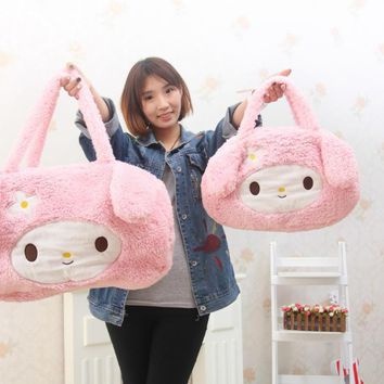 bowknot Hello Kitty Plush Backpack Soft Plush Bag KT Cat High capacity Shoulder bag for Shopping Mommy Big Plush Bag